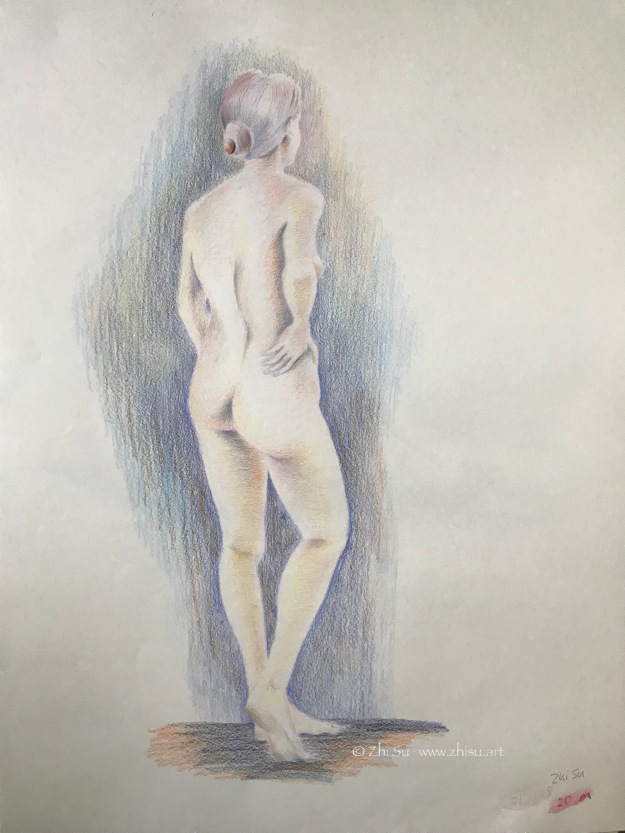 Female figure, colored pencil