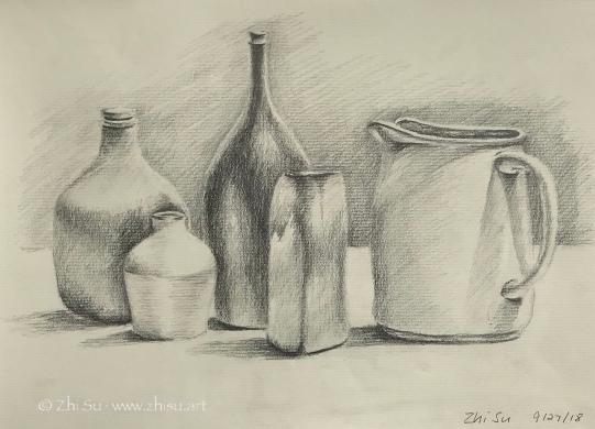 Jars, pencil