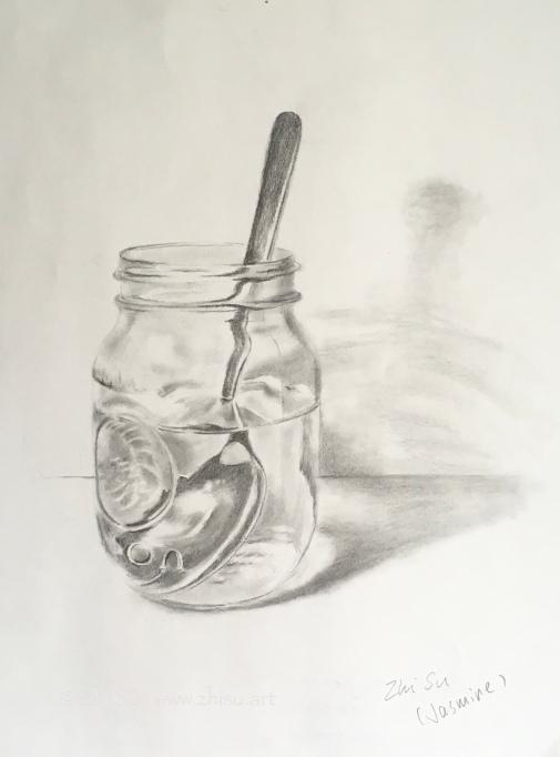 mason jar with spoon, pencil drawing