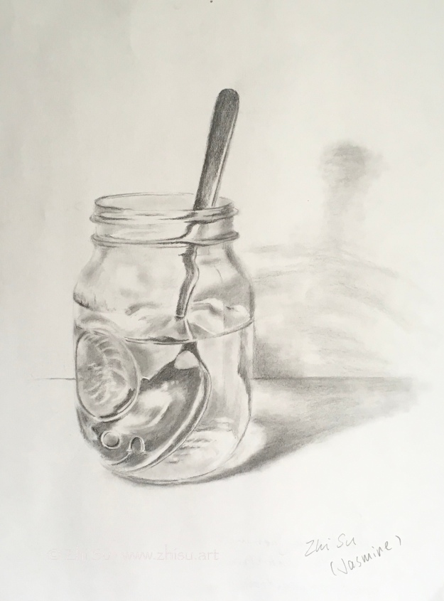 mason jar with spoon, pencil drawing