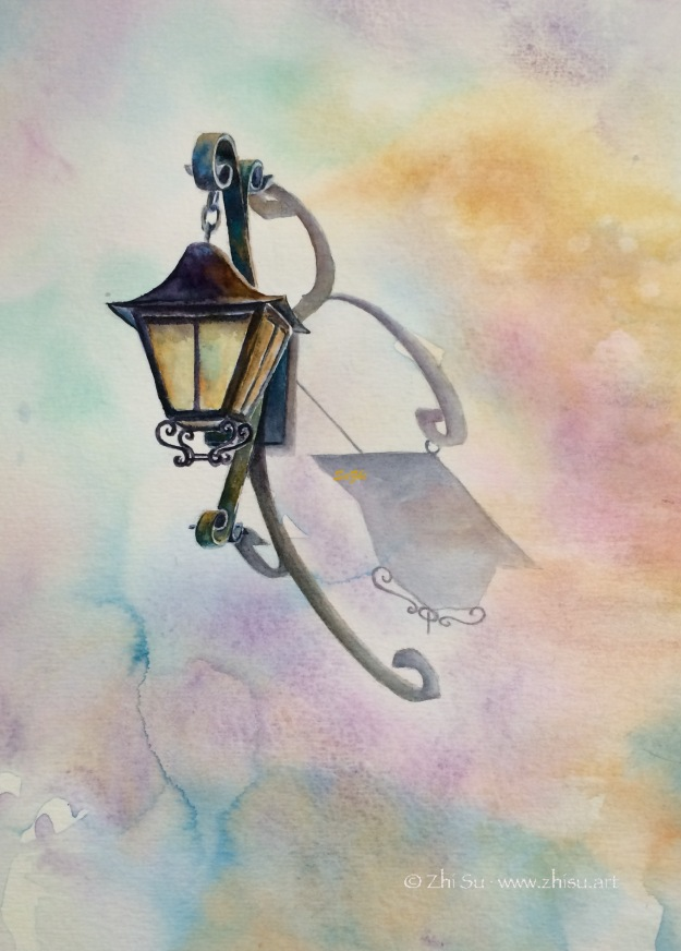 Lamp, watercolor