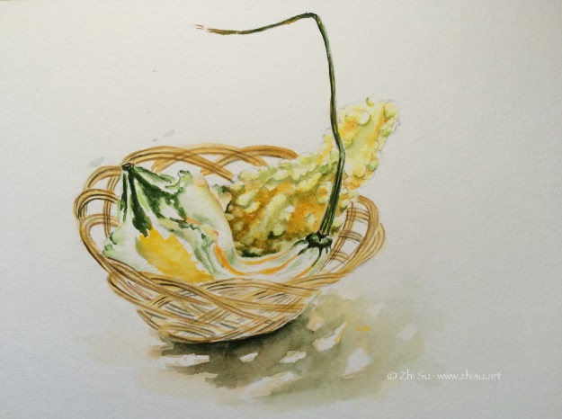 Squashes in a basket, watercolor