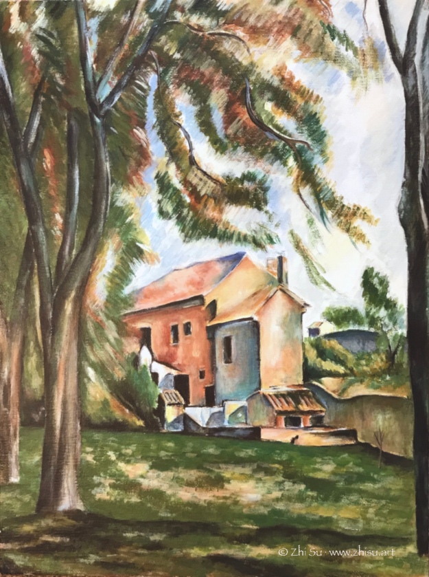 Cezanne landscape study, acrylic