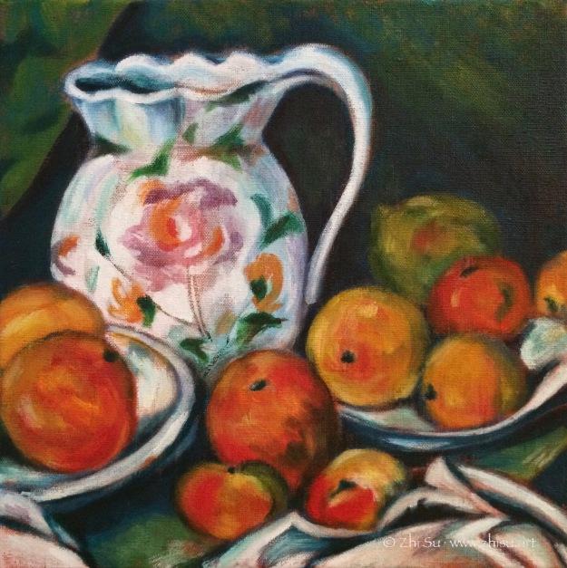 Cezanne still life study, acrylic