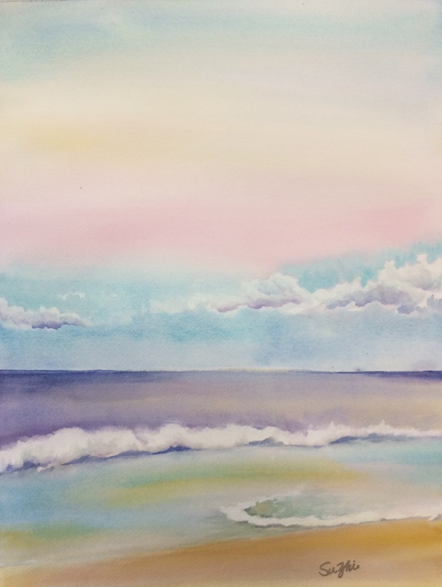 Hawaii beach, watercolor
