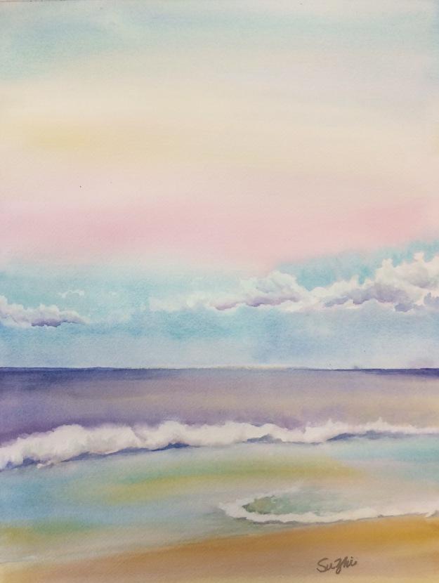 Hawaii beach, watercolor