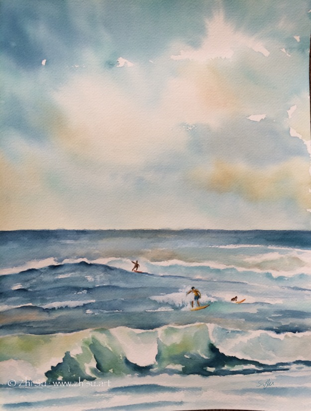 Hawaii, surfing, watercolor