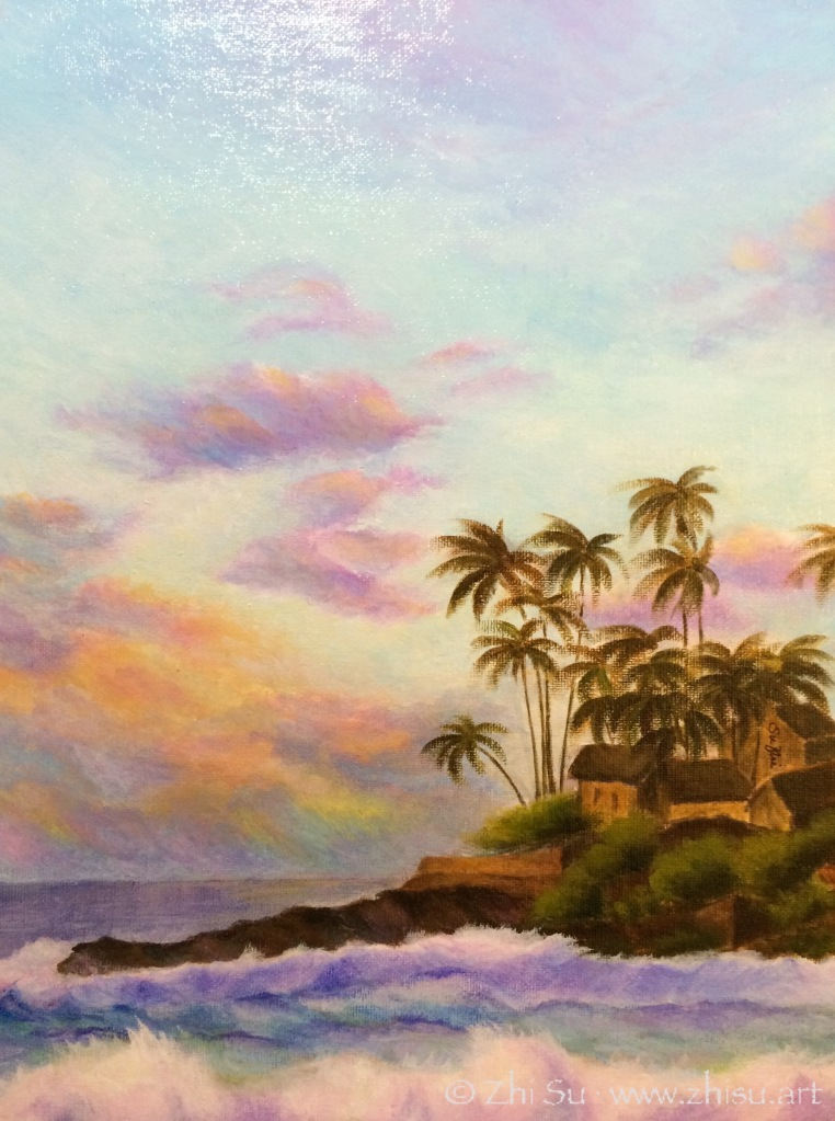 Hawaii sea shore, acrylic