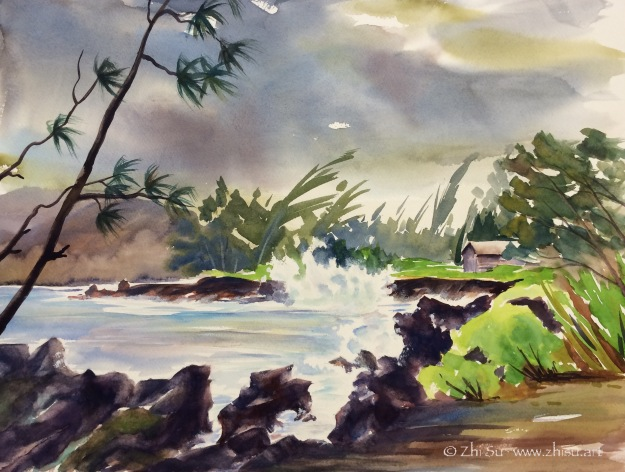 Hawaii, storm, watercolor