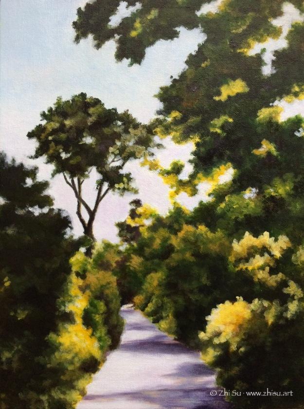 landscape, trees, acrylic
