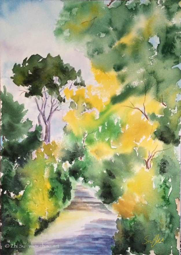landscape, trees, watercolor