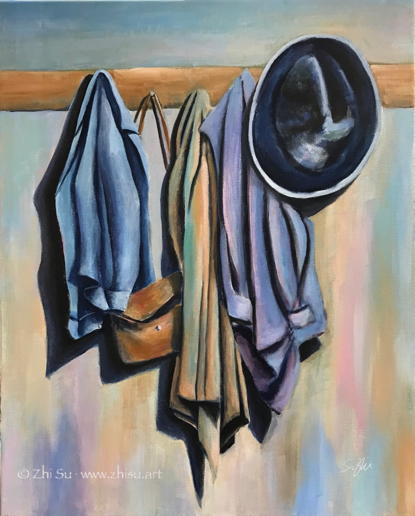Acrylic painting of clothes hanging