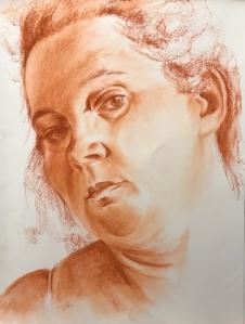 Diana, conté on paper, 9 x 18 in, 2020