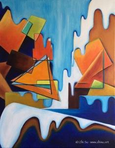 Landscape, acrylic on canvas, 24 x 30, 2017