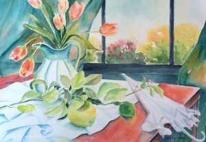 Tulips, watercolor on paper, 14 x 20 in, 2016