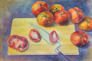 Tomatoes, watercolor on paper, 14 x 20 in, 2017
